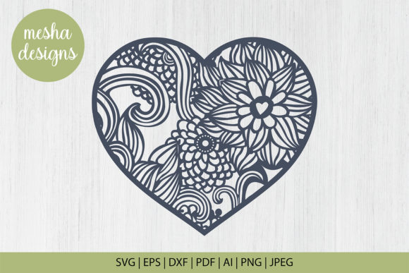 Download Free Flower Heart Frame Graphic By Diycuttingfiles Creative Fabrica for Cricut Explore, Silhouette and other cutting machines.