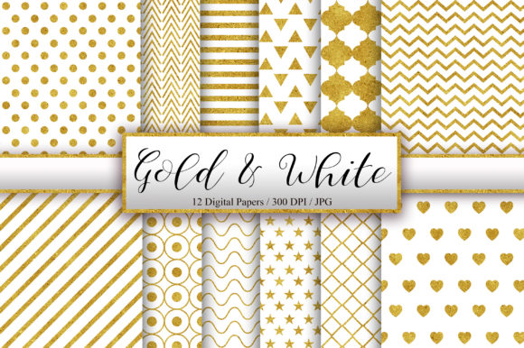 Gold and White Background Digital Papers Graphic Backgrounds By PinkPearly