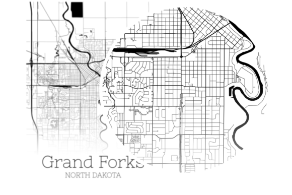 Download Free Grand Forks North Dakota City Map Graphic By Svgexpress for Cricut Explore, Silhouette and other cutting machines.