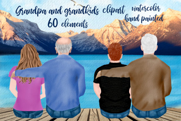 Grandpa Clipart Father's Day Clipart Grafik Illustrationen von LeCoqDesign