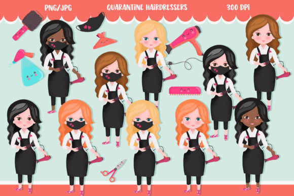 Hairdresser Quarantine Clipart Graphic Illustrations By CuteLittleClipart