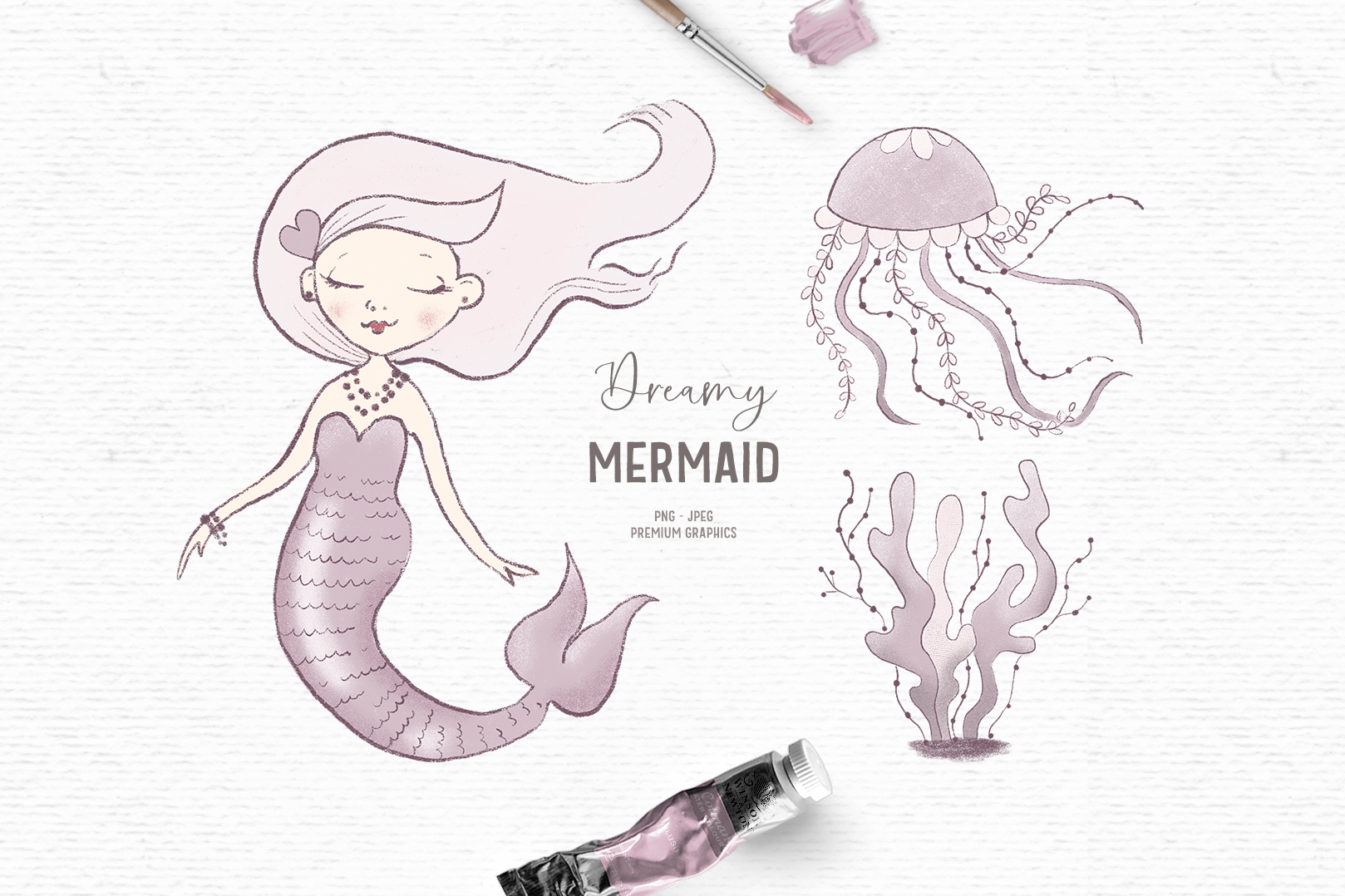 Download Free Hand Drawn Mermaid Clipart In Pink Graphic By Wallifyer for Cricut Explore, Silhouette and other cutting machines.