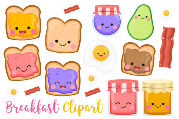 Kawaii Breakfast Clipart Graphic Illustrations By magreenhouse