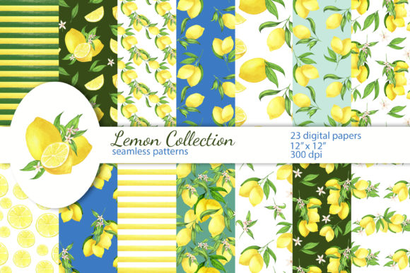 Print on Demand: Lemon Digital Papers, Seamless Patterns Graphic Patterns By s.yanyeva