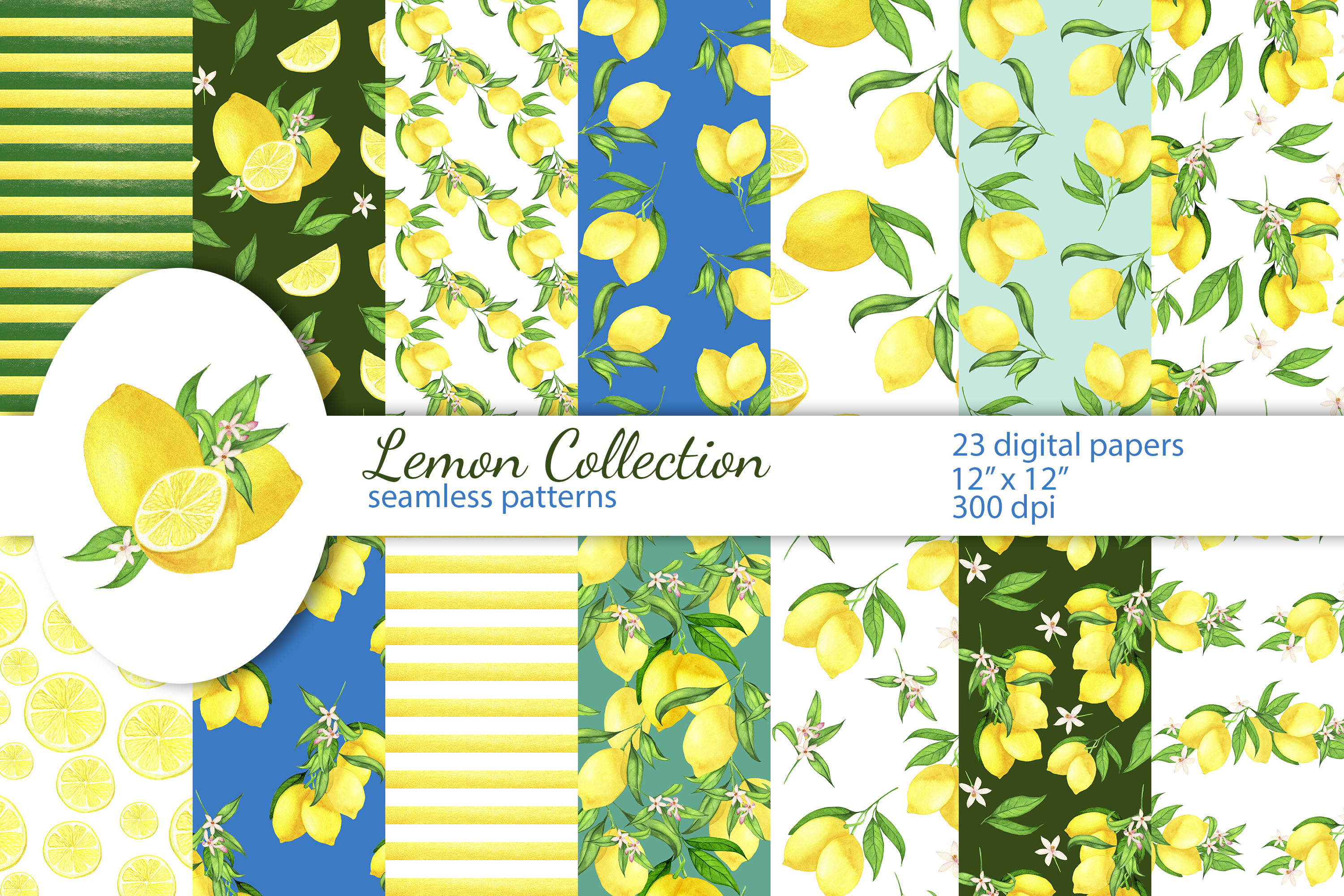 Download Free Lemon Digital Papers Seamless Patterns Graphic By S Yanyeva for Cricut Explore, Silhouette and other cutting machines.