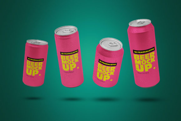 Print on Demand: Levitating Clean Beer Can Pack Mockup Graphic Product Mockups By SmartDesigns