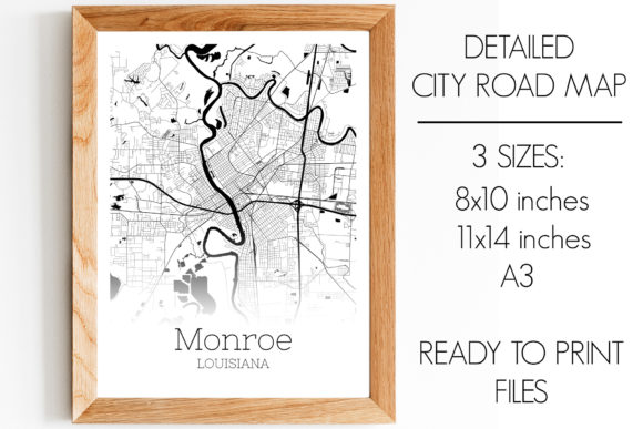 Print on Demand: Monroe Louisiana City Map Graphic Photos By SVGExpress