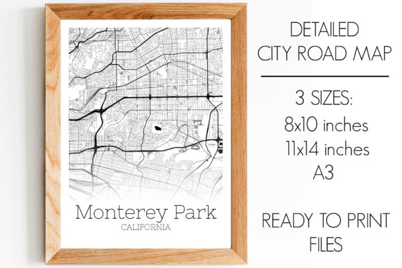 Print on Demand: Monterey Park California City Map Graphic Photos By SVGExpress