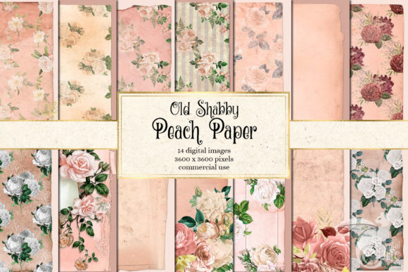 Print on Demand: Old Shabby Peach Paper Textures Graphic Textures By Digital Curio