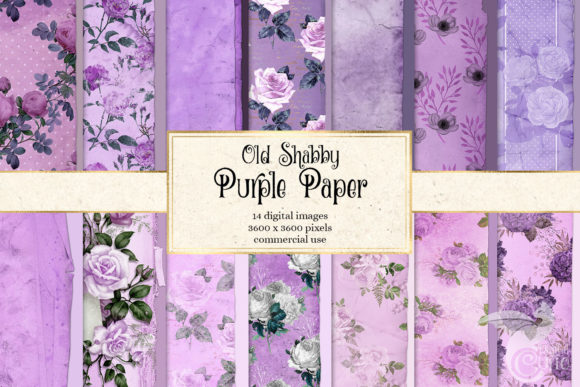 Print on Demand: Old Shabby Purple Paper Textures Graphic Textures By Digital Curio