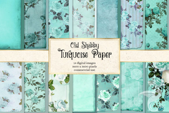 Print on Demand: Old Shabby Turquoise Paper Textures Graphic Textures By Digital Curio - Image 1