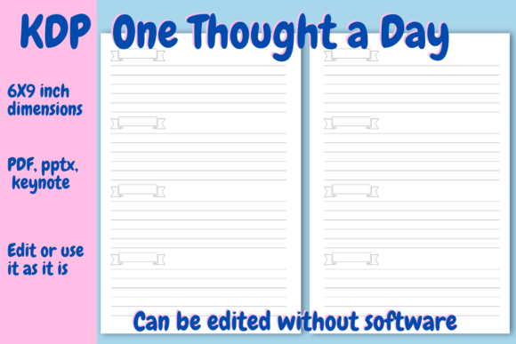 Download Free One Thought Line A Day Journal For Kdp Graphic By Income Plum for Cricut Explore, Silhouette and other cutting machines.
