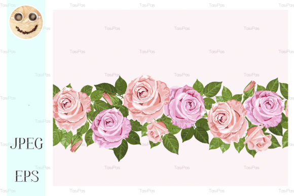 Print on Demand: Pale Pink Roses Seamless Design for Card Graphic Illustrations By TasiPas