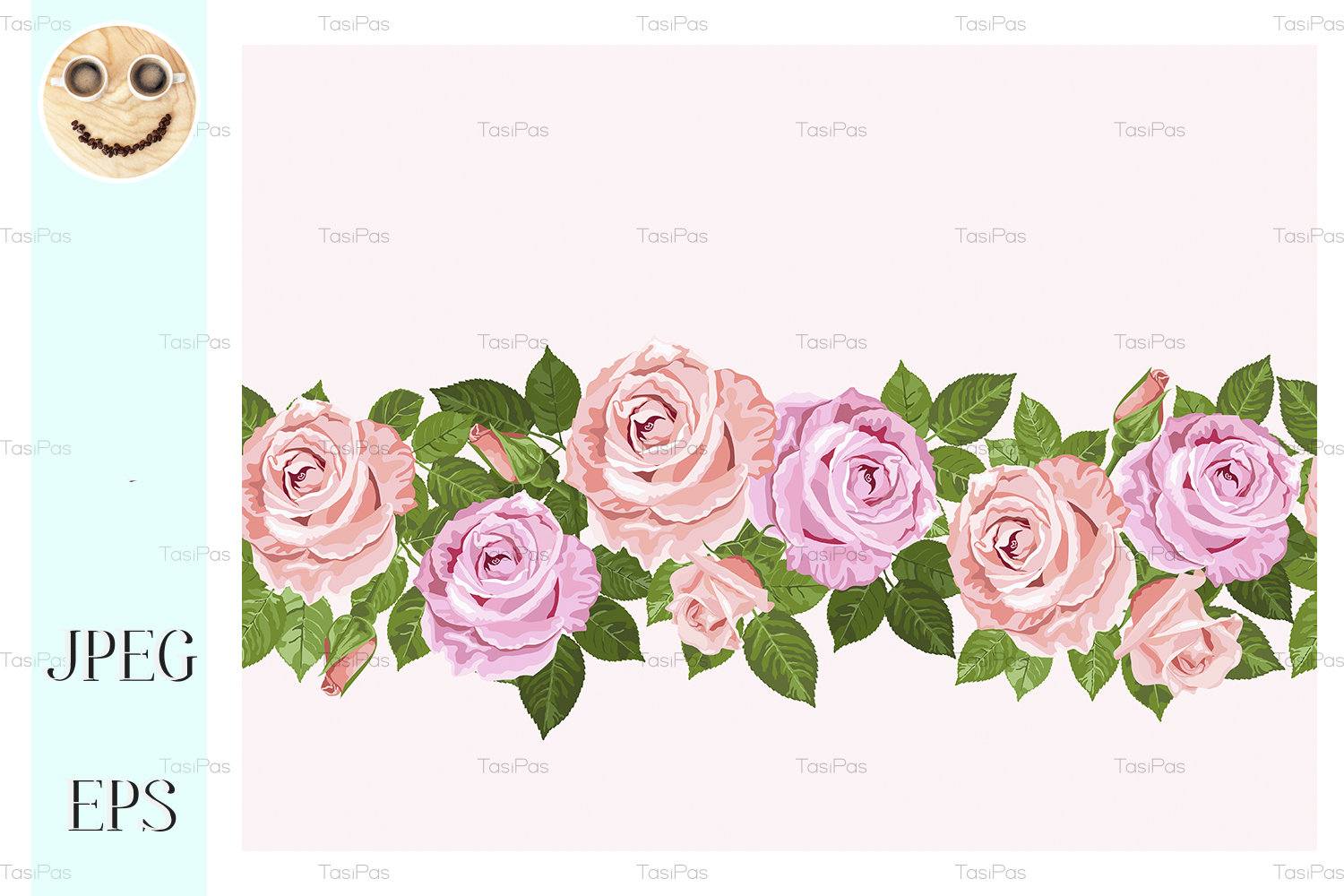 Download Free Pale Pink Roses Seamless Design For Card Graphic By Tasipas for Cricut Explore, Silhouette and other cutting machines.
