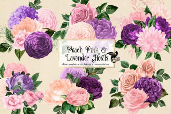 Print on Demand: Peach Pink and Lavender Floral Clipart Gráfico Ilustraciones Por Digital Curio