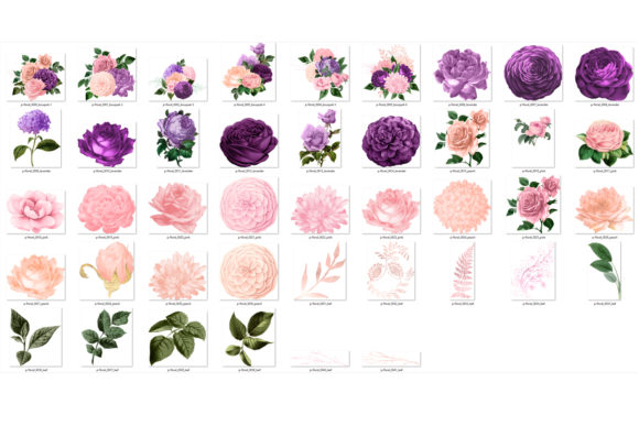 Print on Demand: Peach Pink and Lavender Floral Clipart Graphic Illustrations By Digital Curio - Image 3
