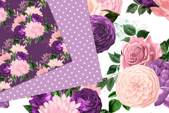 Print on Demand: Peach Pink and Lavender Floral Patterns Graphic Patterns By Digital Curio - Image 2