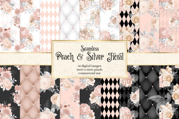 Print on Demand: Peach and Silver Floral Digital Paper Graphic Textures By Digital Curio - Image 1