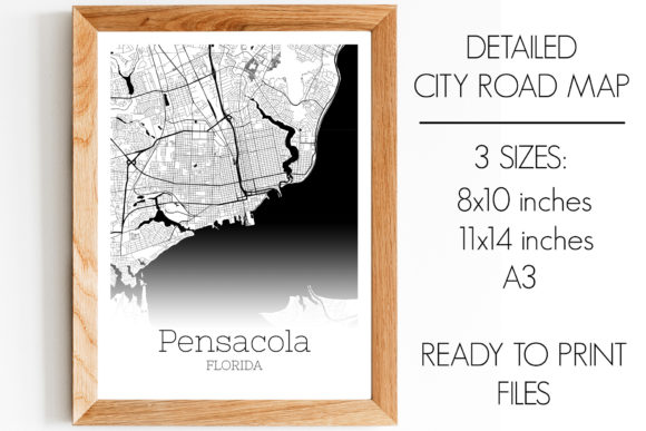 Download Free Pensacola Florida City Map Graphic By Svgexpress Creative Fabrica for Cricut Explore, Silhouette and other cutting machines.