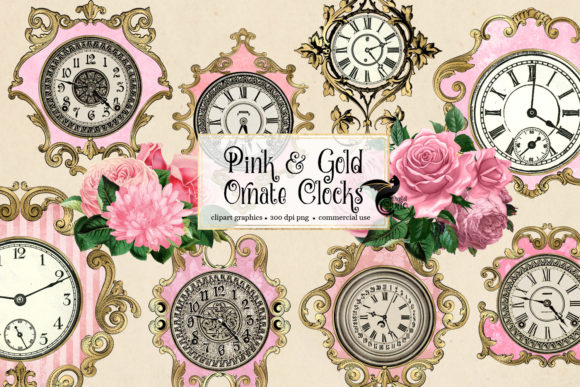 Print on Demand: Pink and Gold Ornate Clocks Clipart Grafik Illustrationen von Digital Curio