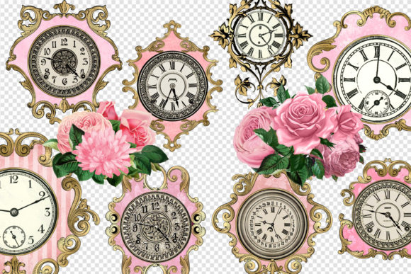 Print on Demand: Pink and Gold Ornate Clocks Clipart Graphic Illustrations By Digital Curio - Image 2