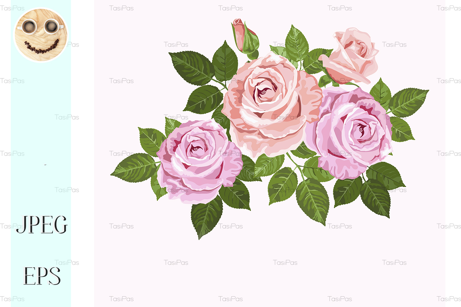 Download Free Pink And Beige Vector Roses Graphic By Tasipas Creative Fabrica for Cricut Explore, Silhouette and other cutting machines.