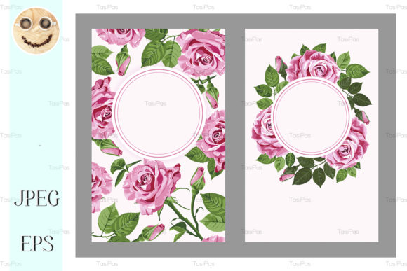 Pink Roses And Round Frame Cards Set Graphic By Tasipas