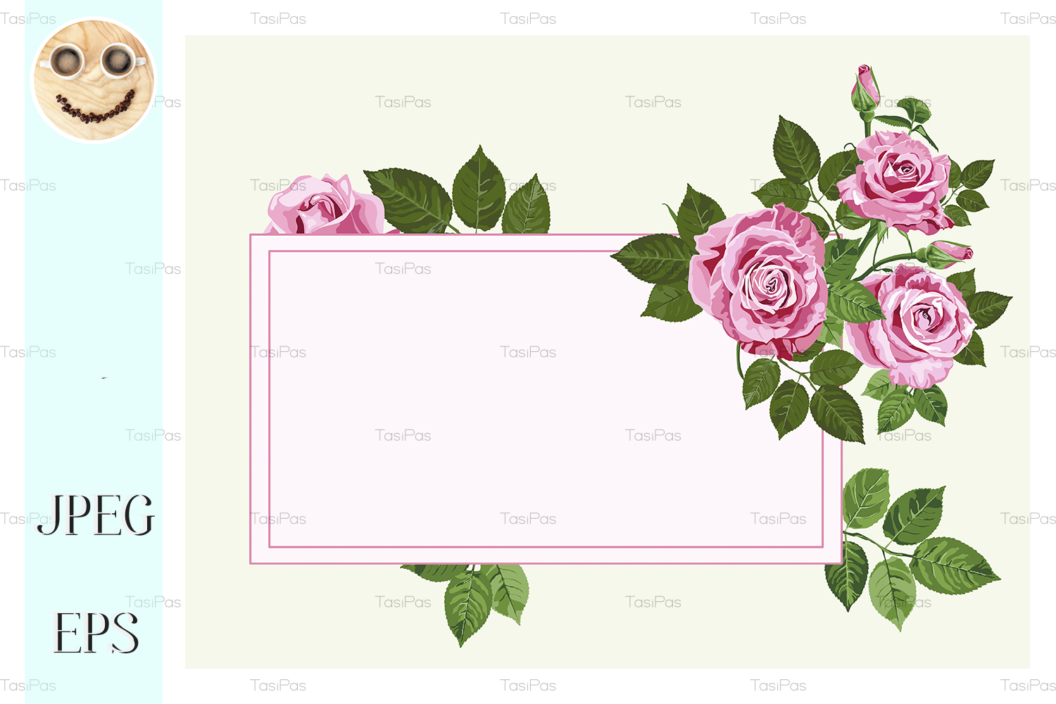Download Free Pink Roses Card On The Light Green Graphic By Tasipas SVG Cut Files