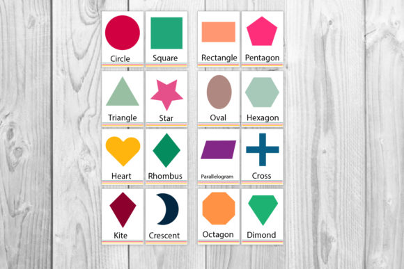 Download Free Printable Shapes Flash Cards Graphic By Igraphic Studio Creative Fabrica for Cricut Explore, Silhouette and other cutting machines.