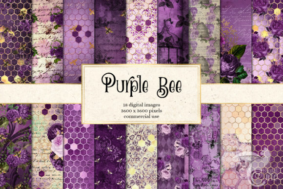 Download Free Purple Bee Digital Paper Graphic By Digital Curio Creative Fabrica for Cricut Explore, Silhouette and other cutting machines.