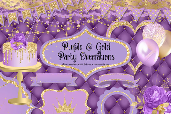 Print on Demand: Purple and Gold Party Decorations Clipart Grafik Illustrationen von Digital Curio