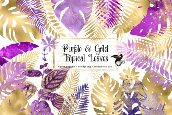 Print on Demand: Purple and Gold Tropical Leaves Clipart Graphic Illustrations By Digital Curio