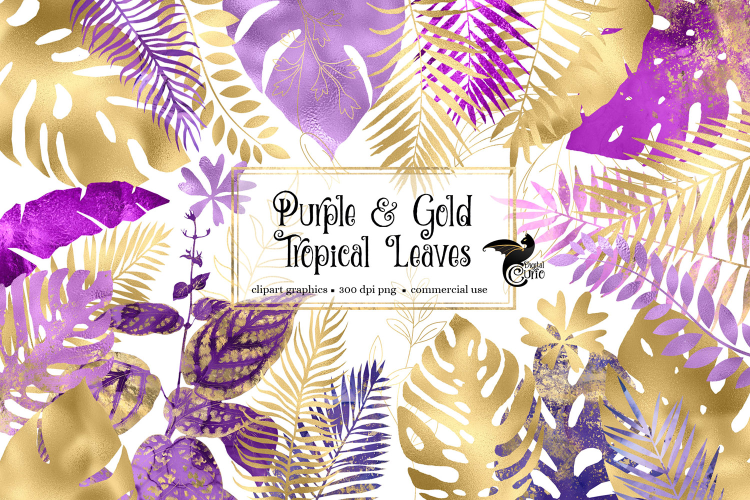 Download Free Purple And Gold Tropical Leaves Clipart Graphic By Digital Curio for Cricut Explore, Silhouette and other cutting machines.