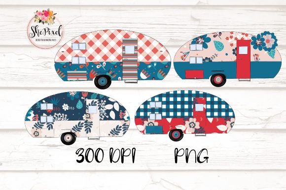 Print on Demand: Retro Camper Clipart Graphic Illustrations By Sublimation Hut