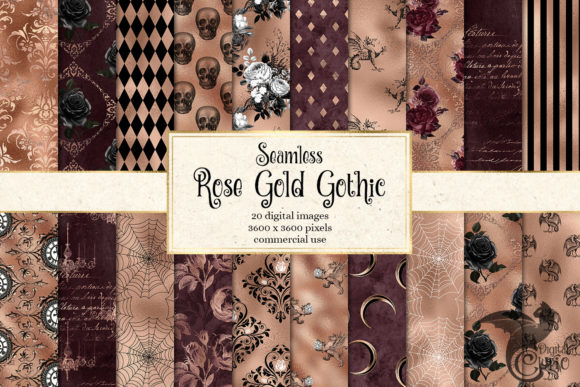Print on Demand: Rose Gold Gothic Digital Paper Graphic Patterns By Digital Curio