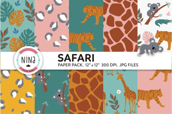 Download Free Safari Digital Paper Jungle Animals Graphic By Nina Prints for Cricut Explore, Silhouette and other cutting machines.