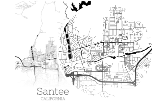 Download Free Santee California City Map Graphic By Svgexpress Creative Fabrica for Cricut Explore, Silhouette and other cutting machines.