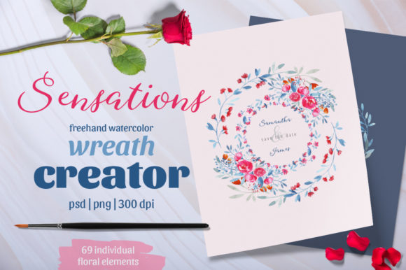 Download Free Sensations Wreath Creator Graphic By Gray Cat Graphics for Cricut Explore, Silhouette and other cutting machines.