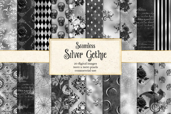 Print on Demand: Silver Gothic Digital Paper Graphic Textures By Digital Curio