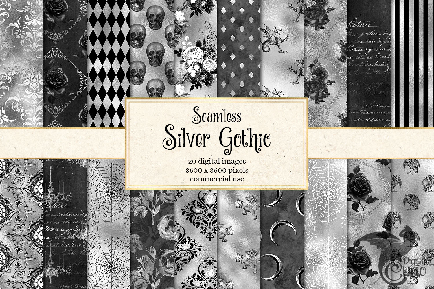 Download Free Silver Gothic Digital Paper Graphic By Digital Curio Creative for Cricut Explore, Silhouette and other cutting machines.