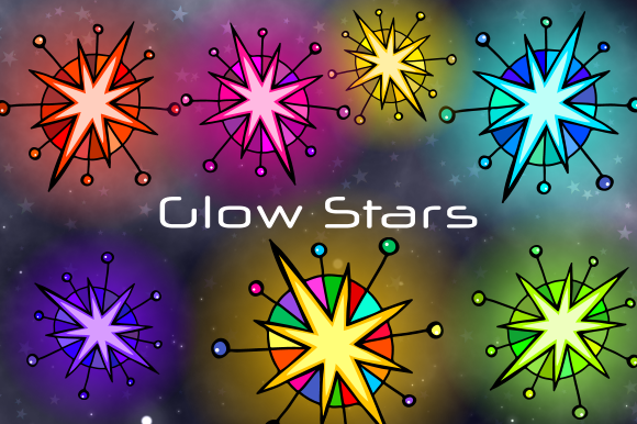 Print on Demand: Starry Night Glow Stars Space Clipart Graphic Illustrations By Prawny