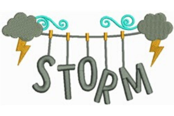Storm Clothesline Autumn Embroidery Design By designsbymira