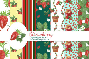 Print on Demand: Strawberry Digital Papers Pack Graphic Patterns By s.yanyeva