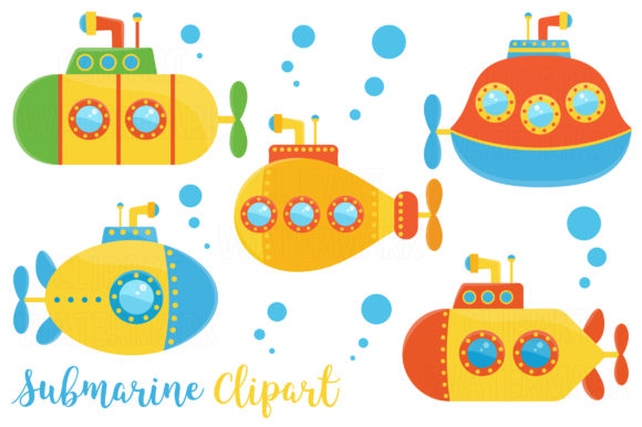 Submarine Clipart Graphic Illustrations By magreenhouse