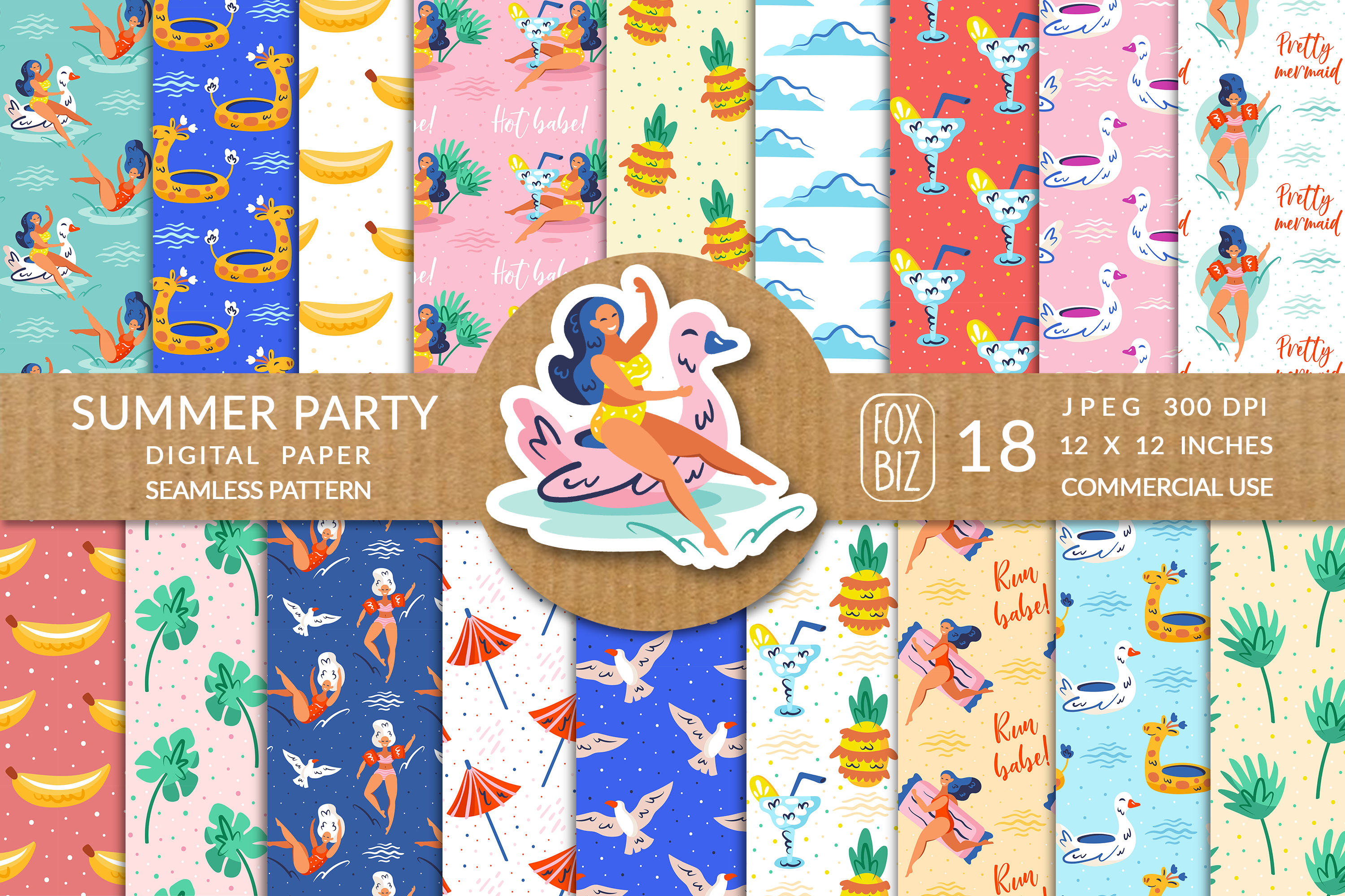 Download Free Summer Girls Seamless Pattern Paper Graphic By Foxbiz for Cricut Explore, Silhouette and other cutting machines.