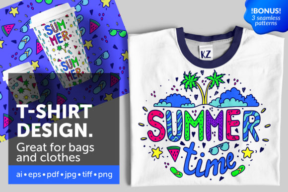 Download Free Summer Illustration For T Shirt Design Graphic By for Cricut Explore, Silhouette and other cutting machines.