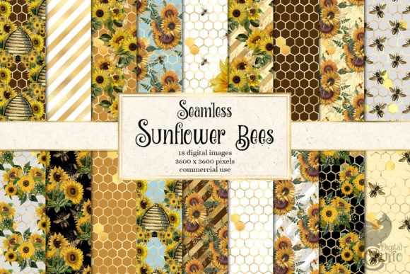 Print on Demand: Sunflower Bees Digital Paper Grafik Muster von Digital Curio