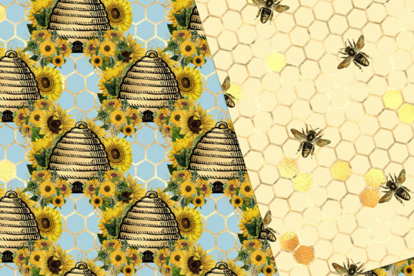 Print on Demand: Sunflower Bees Digital Paper Graphic Patterns By Digital Curio - Image 3