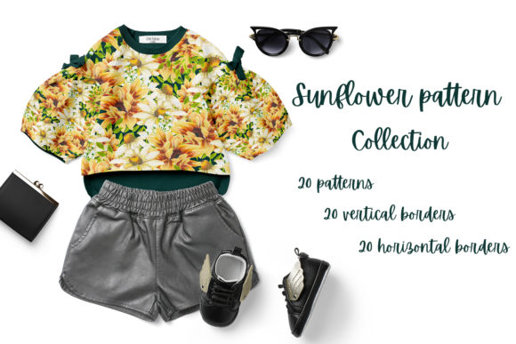Print on Demand: Sunflower Pattern Collection Graphic Patterns By Andreea Eremia Design