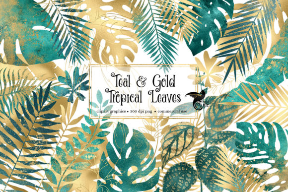 Print on Demand: Teal and Gold Tropical Leaves Grafik Illustrationen von Digital Curio